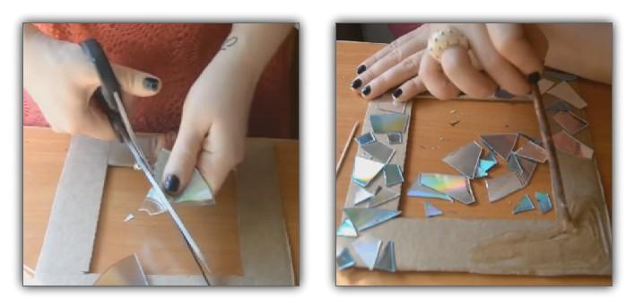 Рамка из CD-дисков - подарок своими руками