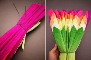 Подарок своими руками — цветы из гофрированной бумаги